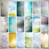 Blurry backgrounds set with bokeh effect. Abstract Royalty Free Stock Image