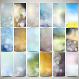 Blurry backgrounds set with bokeh effect. Abstract Royalty Free Stock Photography
