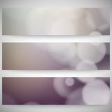 Blurry backgrounds set with bokeh effect. Abstract Royalty Free Stock Photo