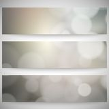 Blurry backgrounds set with bokeh effect. Abstract Royalty Free Stock Photos