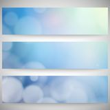 Blurry backgrounds set with bokeh effect. Abstract Stock Photos