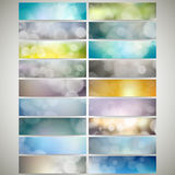 Blurry backgrounds set with bokeh effect. Web Royalty Free Stock Image
