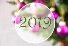 Blurry Balls, Rose Quartz, Text 2019, Christmas Tree stock photos