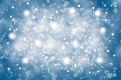 Blurry blue color abstract snowflakes Stock Photography