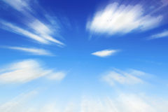 Blurry blue sky.  moving cloud in the sky Royalty Free Stock Image