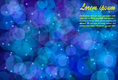Blurry bokeh circles against dark blue background Royalty Free Stock Photography