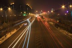 blurry car lights night road traffic Στοκ Εικόνες