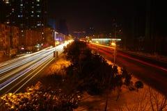 blurry car lights night road traffic Στοκ Εικόνα
