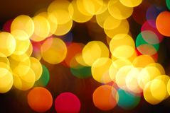 Blurry Christmas tree decoration. With glittering lights stock photos