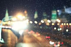 Blurry city lights with snow Royalty Free Stock Photography
