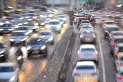 Blurry city with motion cars Royalty Free Stock Image