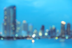 Blurry city skyline at night Stock Photo