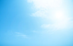 Blurry Cloudy blue sky abstract background with sun beam Royalty Free Stock Photo