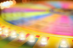 Blurry colorful glow gambling roulette. Motion blur lights stock photo