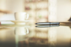 Blurry cup and other items Royalty Free Stock Photography