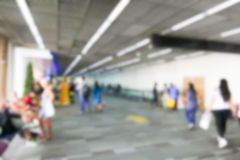 Blurry defocused image of passenger at the airport terminal Stock Images