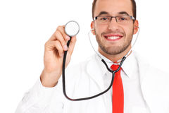 Blurry doctor with stethoscope Royalty Free Stock Photography