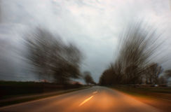 Blurry driving effect. Driving blurry speed effects from inside the car Royalty Free Stock Photos