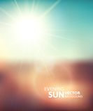 Blurry evening scene with brown field, sun burst. Blue and green blur sky, vector illustration Royalty Free Stock Photos