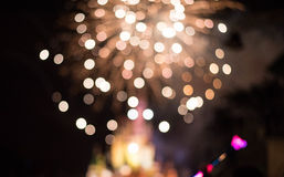 Blurry Fire Works and Castle. With lights and sparkles at night stock photos