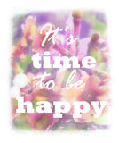Blurry floral design with positive slogan.Pink abstract backdrop Stock Photos