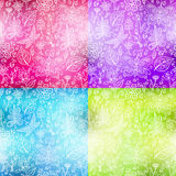 Blurry flower pattern. Set of blurry spring flower backgrounds Royalty Free Stock Image