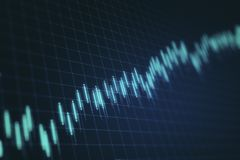 Blurry forex chart backdrop. Blurry glowing forex chart backdrop with candlestick grid. Invest and trade concept. 3D Rendering vector illustration