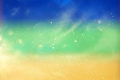 Blurry glitter lights background using brazil flag colors Royalty Free Stock Image