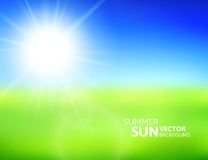 Blurry green field and blue sky with summer sun. Burst, vector background illustration Royalty Free Stock Photo