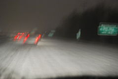 Blurry Hazardous Driving Conditions on Highway Royalty Free Stock Photography