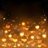 Blurry hearts on dark background Stock Photo