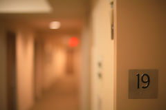 Blurry hotel or hospital corridor stock image