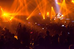 Blurry image background of many audience concert in rock con Stock Photo