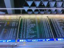 The blurry image of flight schedule board Stock Photo