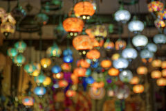 Blurry image of lamps and chandeliers Royalty Free Stock Image