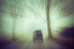Blurry image moving road car stock photos
