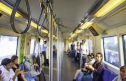 Blurry image of a passenger Subway train royalty free stock photo