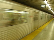 Blurry image of subway. Train as it speeds by royalty free stock photos
