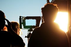 Blurry images of silhouette people behind the scenes stock photo