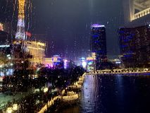 Blurry Las Vegas Strip at Night with Water Droplets royalty free stock images