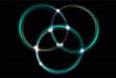 Blurry light effect interlocking rings. Blurry light effect interlocking ring background Royalty Free Stock Image