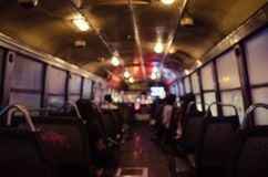 Blurry Light Inside Bus of The Night In Blurry Background. Blurry light inside a bus of the night in blurry background Royalty Free Stock Photos