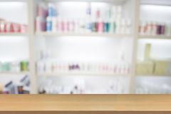 Blurry medicine cabinet and store medicine and pharmacy drugstor. E for background with Perspective wood Stock Photography
