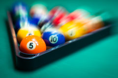 Blurry and moving of billiard balls Stock Photos