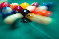 Blurry and moving of billiard balls Royalty Free Stock Photos