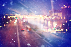 Blurry night city lights Stock Photo