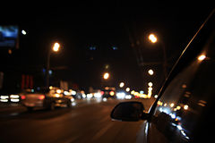 Blurry night traffic jam Royalty Free Stock Images