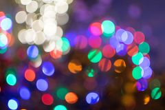 Blurry nighttime Christmas light bokeh. Abstract Christmas light bokeh, having a little fun with a large aperture night hot to generate some nice blurry bokeh Royalty Free Stock Images