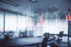 Office with forex chart. Blurry office interior with forex chart. Finance and market concept. Double exposure Stock Photos