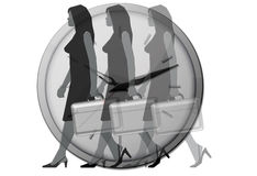 Blurry Office woman clock Royalty Free Stock Image
